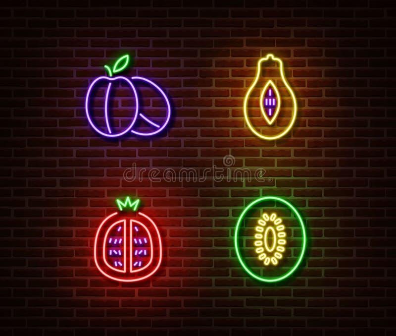 Διάνυσμα σημαδιών φρούτων λαχανικών νέου που απομονώνεται στο τουβλότοιχο Ώριμα δαμάσκηνα, αβοκάντο, γρανάτης, φως ακτινίδιων απεικόνιση αποθεμάτων