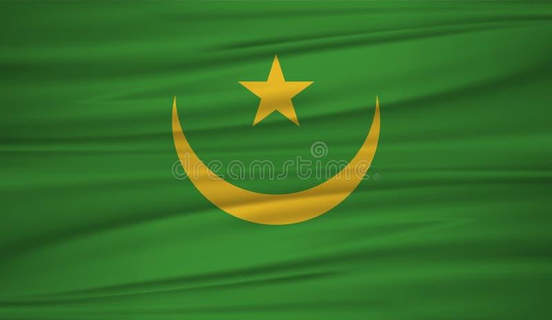 Διάνυσμα σημαιών της Μαυριτανίας Διανυσματική σημαία της Μαυριτανίας blowig στον αέρα Η εθνική σημαία της Μαυριτανίας στο κυματισ διανυσματική απεικόνιση