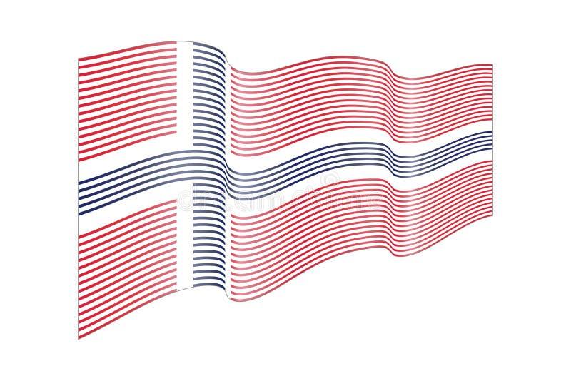 Διάνυσμα σημαιών της Νορβηγίας στο άσπρο υπόβαθρο Σημαία λωρίδων κυμάτων, γραμμή ελεύθερη απεικόνιση δικαιώματος
