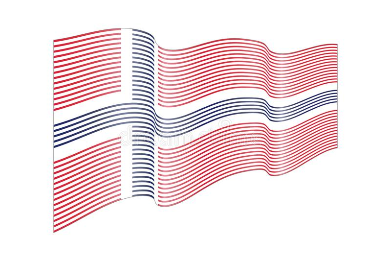 Διάνυσμα σημαιών της Νορβηγίας στο άσπρο υπόβαθρο Σημαία λωρίδων κυμάτων, απεικόνιση γραμμών διανυσματική απεικόνιση