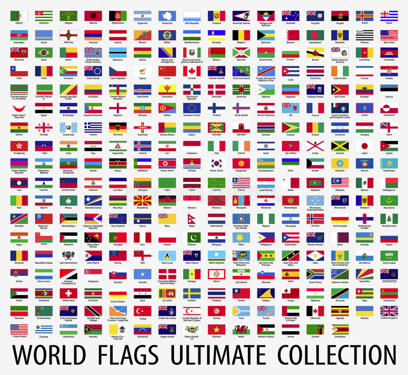 Διάνυσμα σημαιών του κόσμου ελεύθερη απεικόνιση δικαιώματος