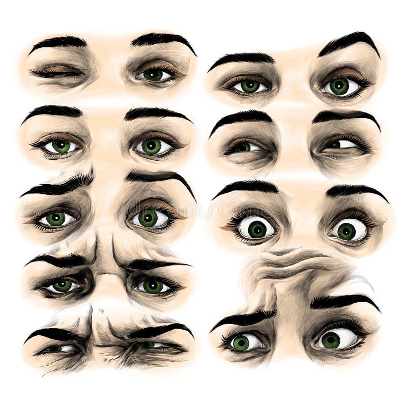 Διάνυσμα σκίτσων ματιών γυναικών ` s γραφικό ελεύθερη απεικόνιση δικαιώματος