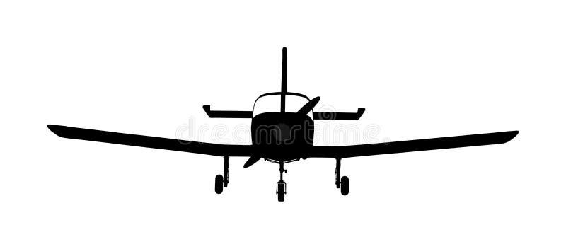 Διάνυσμα σκιαγραφιών αεροπλάνων Μίνι αεροπλάνο στο σύμβολο αέρα σχολείο του πετάγματος Εμπορική πτήση Αεροπλάνο αεριωθούμενων αερ ελεύθερη απεικόνιση δικαιώματος