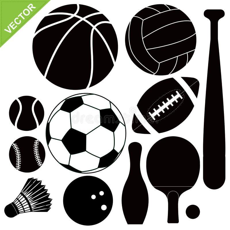 Διάνυσμα σκιαγραφιών αθλητικού εξοπλισμού διανυσματική απεικόνιση