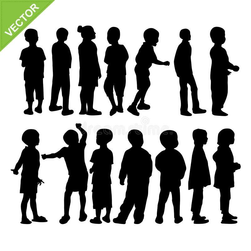 Διάνυσμα σκιαγραφιών παιδιών διανυσματική απεικόνιση