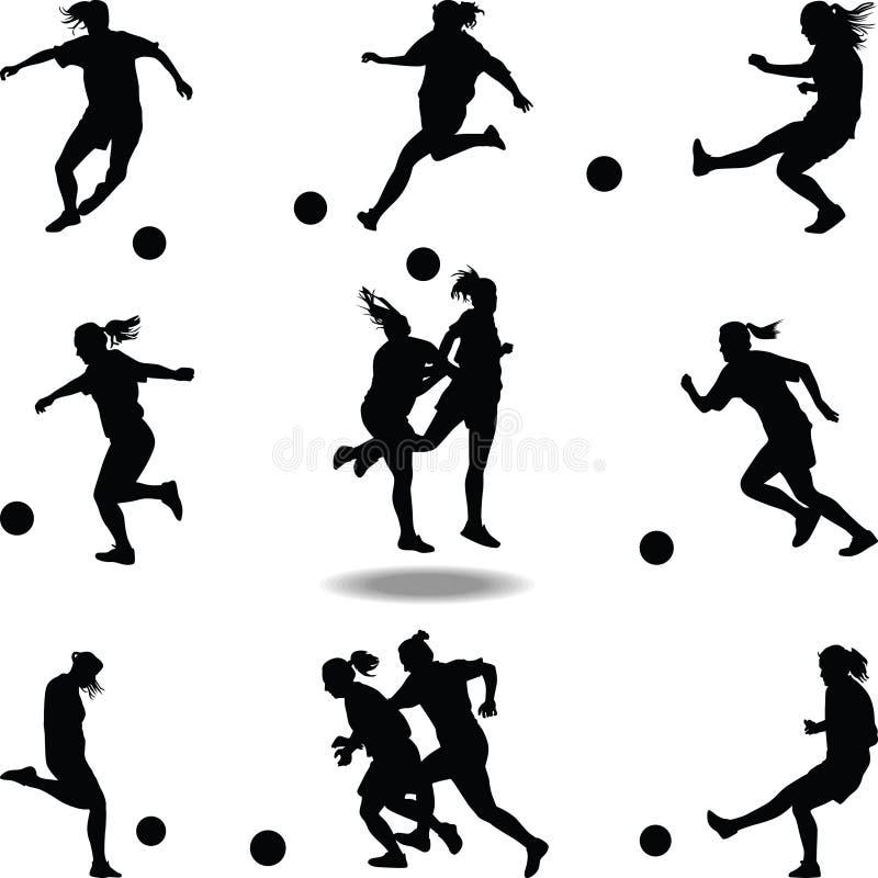 Διάνυσμα σκιαγραφιών ποδοσφαιριστών γυναικών στοκ εικόνα