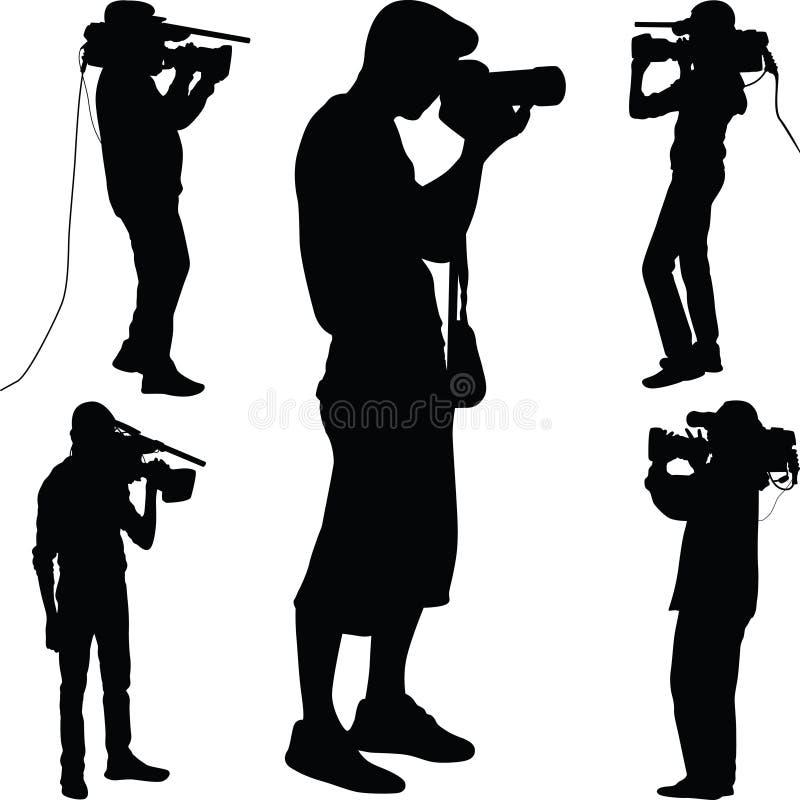 Διάνυσμα σκιαγραφιών φωτογράφων ελεύθερη απεικόνιση δικαιώματος