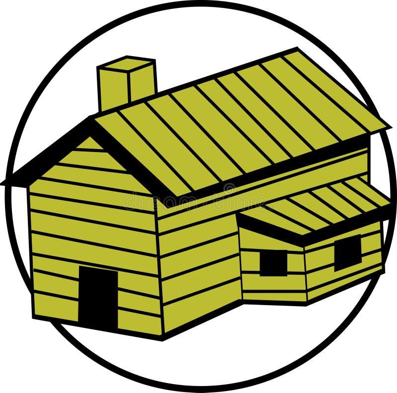 διάνυσμα σπιτιών καπνοδόχων καμπινών ξύλινο ελεύθερη απεικόνιση δικαιώματος