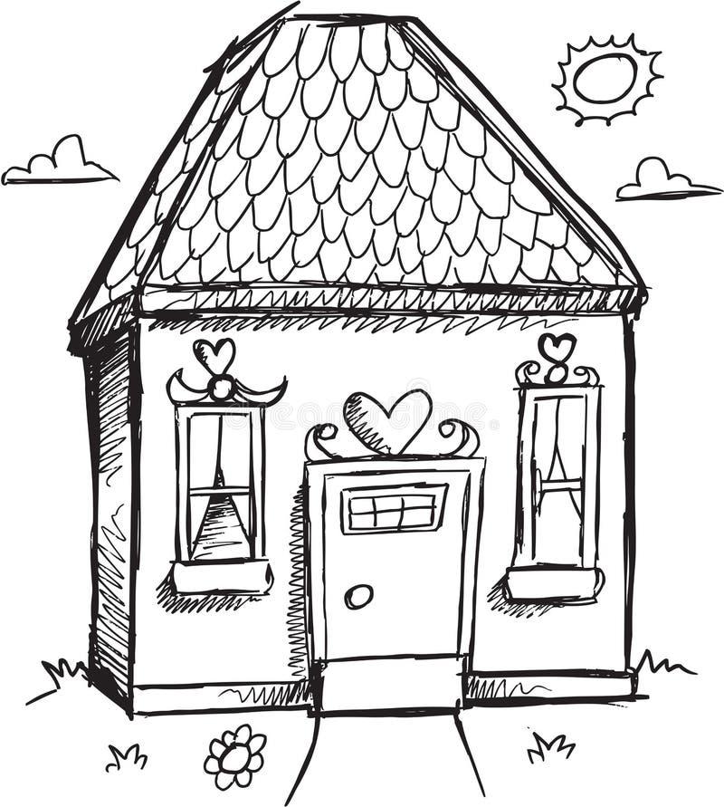 Διάνυσμα σπιτιών Doodle διανυσματική απεικόνιση
