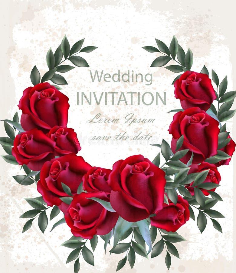 Διάνυσμα στεφανιών γαμήλιων τριαντάφυλλων Όμορφη κόκκινη γιρλάντα λουλουδιών Πρόσκλησης ρεαλιστικές τρισδιάστατες απεικονίσεις ντ διανυσματική απεικόνιση