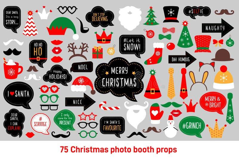 Διάνυσμα στηριγμάτων θαλάμων φωτογραφιών Χριστουγέννων καθορισμένο photobooth απεικόνιση αποθεμάτων