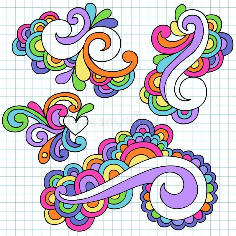 Διάνυσμα στοιχείων σχεδίου Doodle σημειωματάριων Groovy ελεύθερη απεικόνιση δικαιώματος
