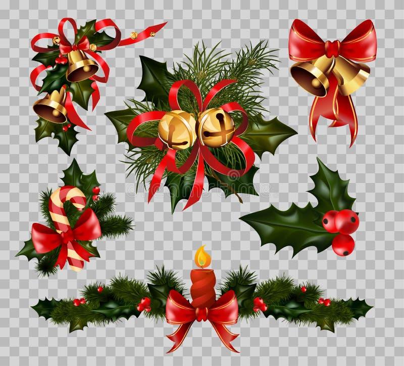 Διάνυσμα στοιχείων τόξων στεφανιών έλατου διακοσμήσεων Χριστουγέννων που απομονώνεται στο διαφανές υπόβαθρο διανυσματική απεικόνιση