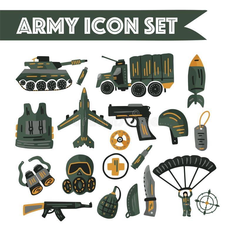 Διάνυσμα στρατιωτικών και εικονιδίων στρατού το επίπεδο έθεσε με τη δεξαμενή, το αλεξίπτωτο, το κράνος, τη μάσκα αερίου και άλλα  διανυσματική απεικόνιση