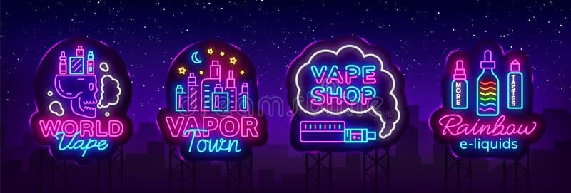 Διάνυσμα συλλογής σημαδιών νέου καταστημάτων Vape Τα λογότυπα καταστημάτων Vaping καθορισμένα το νέο εμβλημάτων, η πόλη ατμού ένν ελεύθερη απεικόνιση δικαιώματος