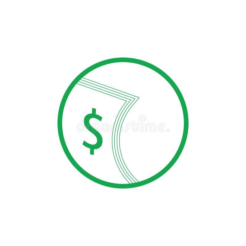Διάνυσμα συμβόλων φύλλων δολαρίων χρημάτων απεικόνιση αποθεμάτων