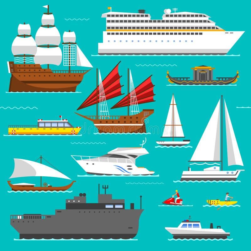 Διάνυσμα συμβόλων σκαφών και θάλασσας βαρκών ελεύθερη απεικόνιση δικαιώματος