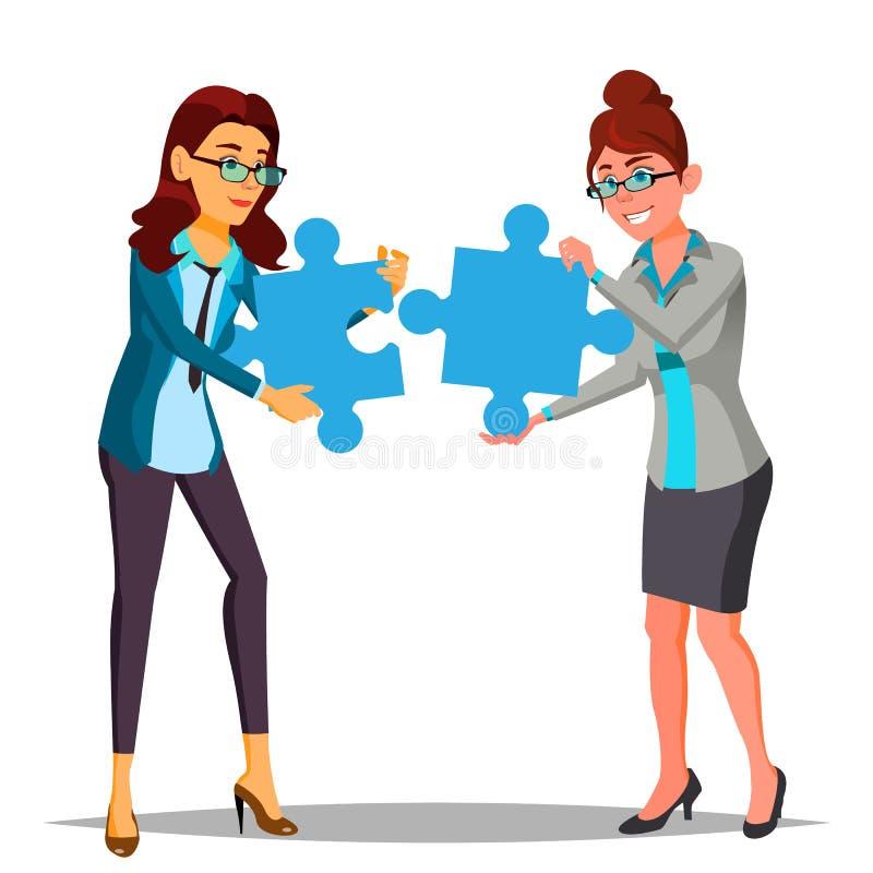 Διάνυσμα συνεργασίας Εκμετάλλευση γυναικών δύο επιχειρήσεων στα χέρια δύο μεγάλοι γρίφοι και το συνολικά απεικόνιση απεικόνιση αποθεμάτων