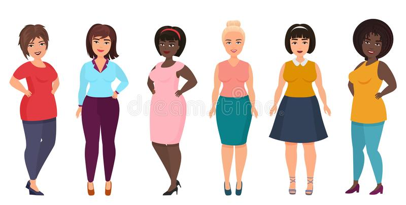 Διάνυσμα συν τη μόδα γυναικών μεγέθους Curvy, υπέρβαρο θηλυκό κορίτσι στα περιστασιακά ενδύματα φορεμάτων διανυσματική απεικόνιση
