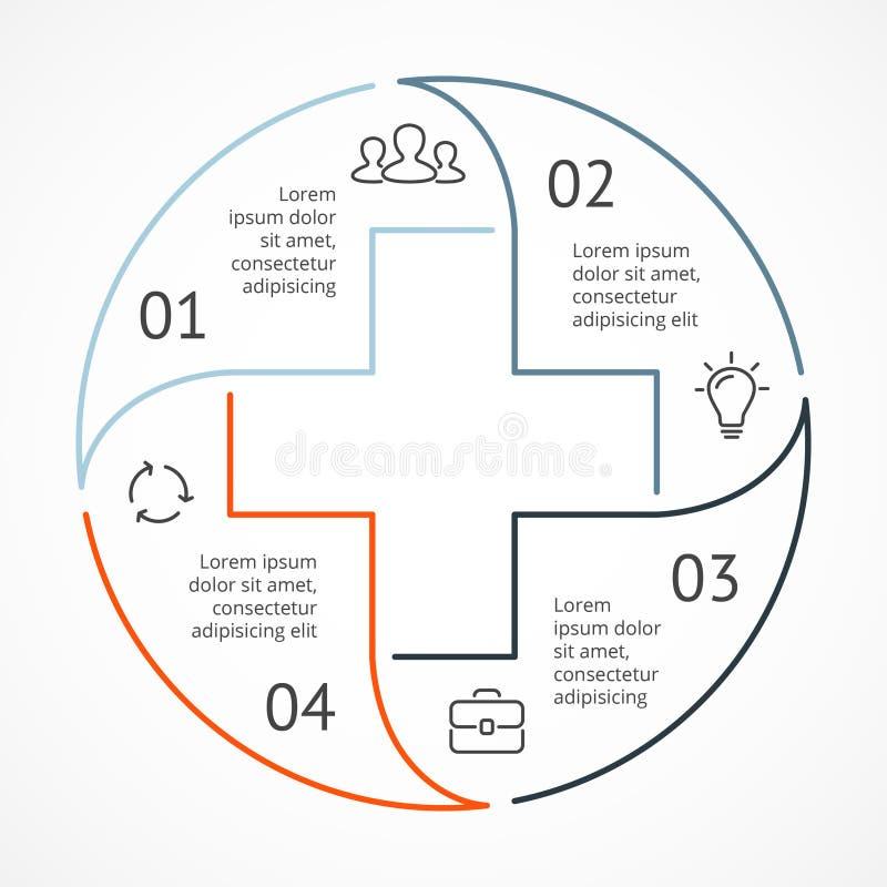 Διάνυσμα συν το infographic, ιατρικό διάγραμμα, γραφική παράσταση υγειονομικής περίθαλψης, παρουσίαση νοσοκομείων, διάγραμμα έκτα ελεύθερη απεικόνιση δικαιώματος