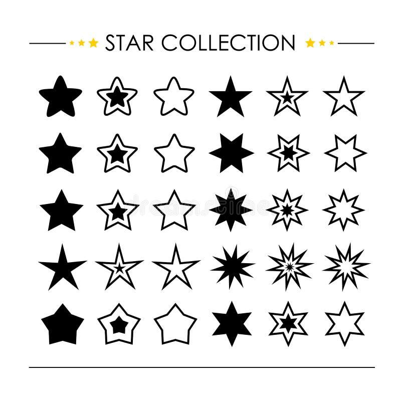 Διάνυσμα συλλογής εικονιδίων αστεριών διανυσματική απεικόνιση