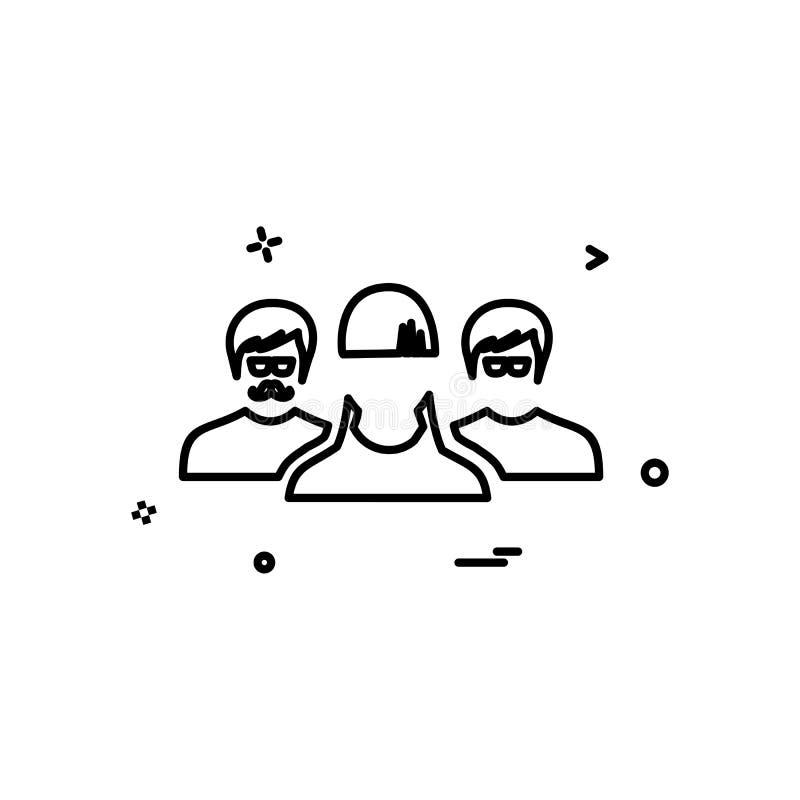 Διάνυσμα σχεδίου εικονιδίων ομάδας χρηστών ελεύθερη απεικόνιση δικαιώματος