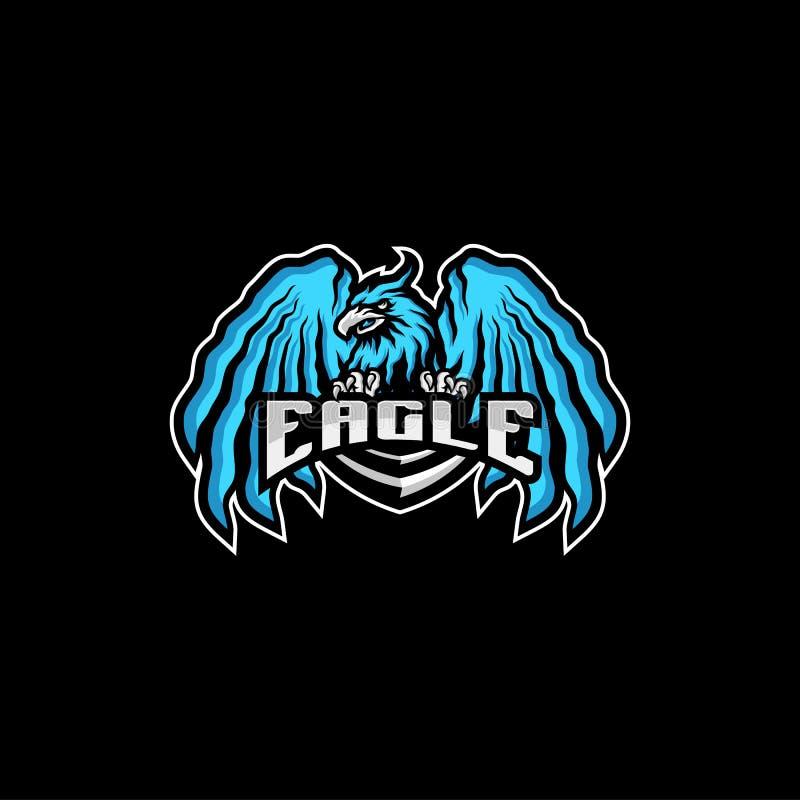 Διάνυσμα σχεδίου λογότυπων αετών eSports Έννοιες λογότυπων τυχερού παιχνιδιού μασκότ ομάδας αετών διανυσματική απεικόνιση