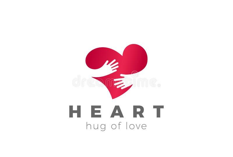 Διάνυσμα σχεδίου λογότυπων καρδιών αγκαλιάσματος αγάπης κόκκινος αυξήθηκε διανυσματική απεικόνιση