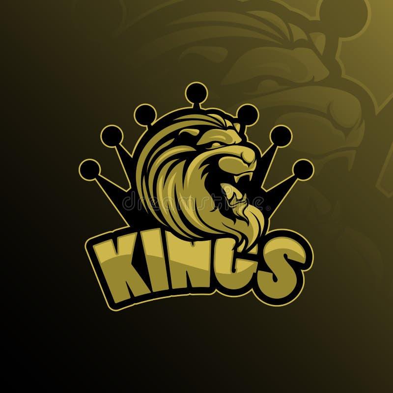 Διάνυσμα σχεδίου λογότυπων μασκότ βασιλιάδων λιονταριών με το σύγχρονο ύφος έννοιας απεικόνισης για την εκτύπωση διακριτικών, εμβ ελεύθερη απεικόνιση δικαιώματος