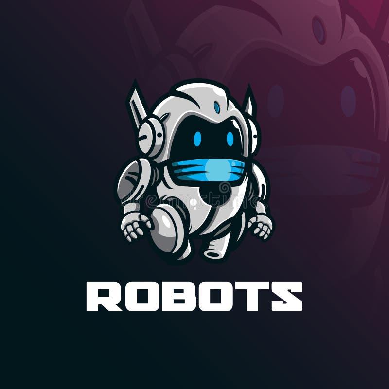 Διάνυσμα σχεδίου λογότυπων μασκότ ρομπότ με το σύγχρονο ύφος έννοιας απεικόνισης για την εκτύπωση διακριτικών, εμβλημάτων και μπλ απεικόνιση αποθεμάτων