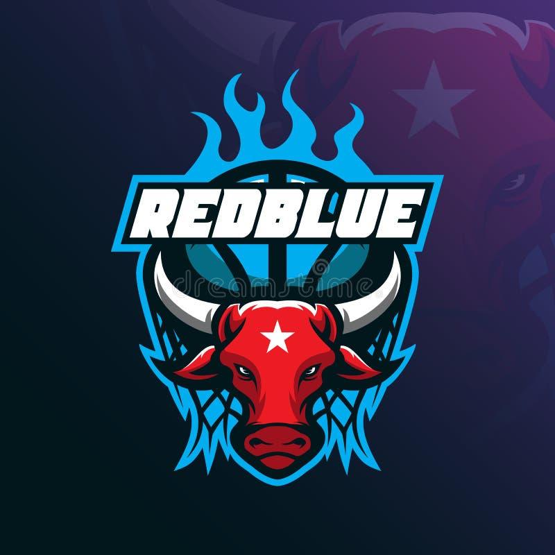 Διάνυσμα σχεδίου λογότυπων μασκότ του Bull με τη σύγχρονη έννοια απεικόνισης απεικόνιση αποθεμάτων