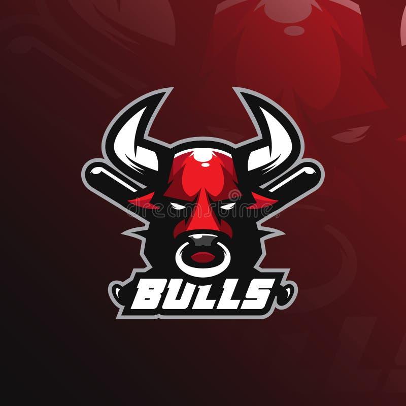Διάνυσμα σχεδίου λογότυπων μασκότ του Bull με το σύγχρονο ύφος έννοιας απεικόνισης για την εκτύπωση διακριτικών, εμβλημάτων και μ διανυσματική απεικόνιση