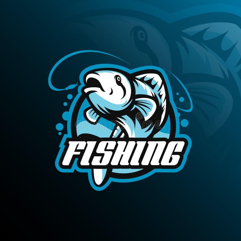 Διάνυσμα σχεδίου λογότυπων μασκότ ψαριών με το σύγχρονο ύφος έννοιας απεικόνισης για την εκτύπωση διακριτικών, εμβλημάτων και μπλ διανυσματική απεικόνιση