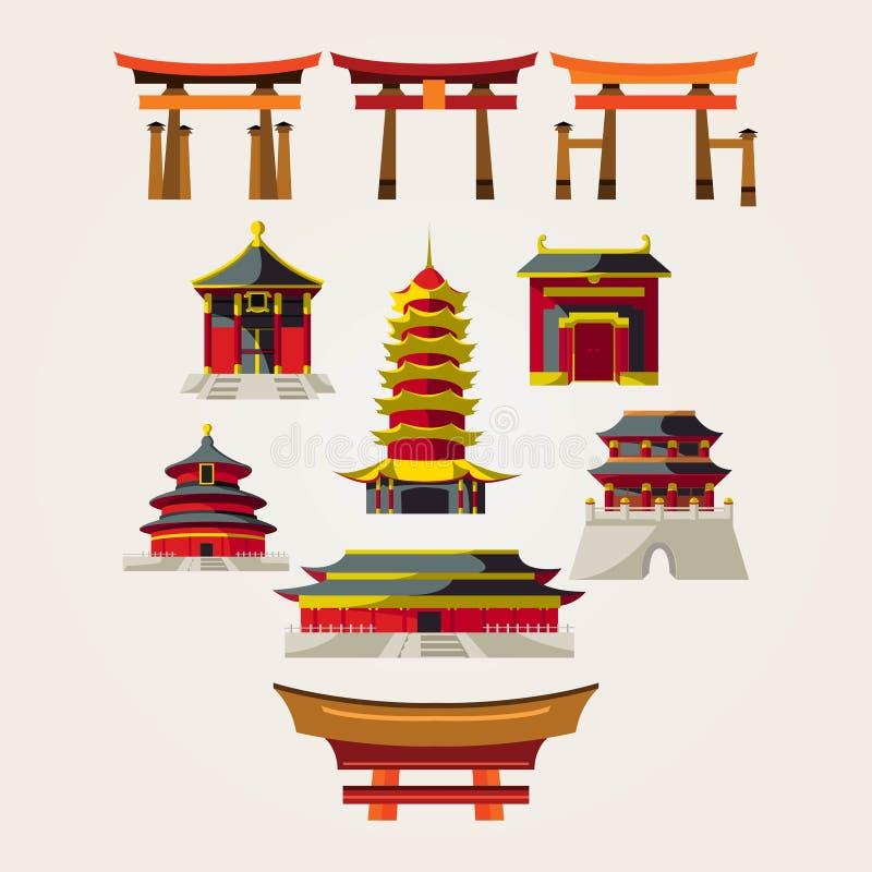 Διάνυσμα σχεδίου λογότυπων συλλογής ναών Chinesse διανυσματική απεικόνιση