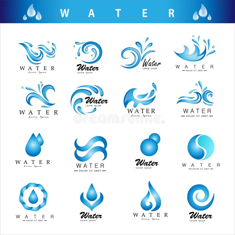 Διάνυσμα σχεδίου λογότυπων συλλογής λογότυπων νερού διανυσματική απεικόνιση