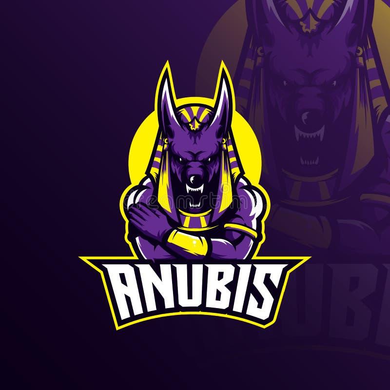 Διάνυσμα σχεδίου μασκότ λογότυπων Anubis με το σύγχρονο ύφος έννοιας απεικόνισης για την εκτύπωση διακριτικών, εμβλημάτων και μπλ απεικόνιση αποθεμάτων