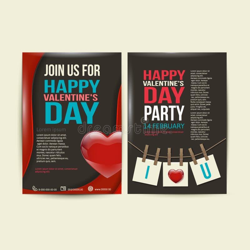 Διάνυσμα σχεδίου ημέρας του ευτυχούς βαλεντίνου ιπτάμενων φυλλάδιων ελεύθερη απεικόνιση δικαιώματος