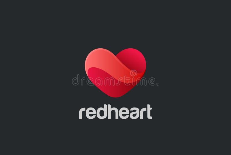 Διάνυσμα σχεδίου λογότυπων καρδιών αγάπη ημέρας βαλεντίνων Κάρτα διανυσματική απεικόνιση