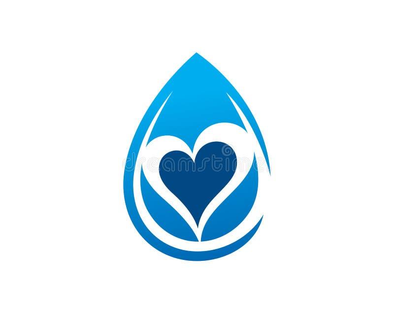 Διάνυσμα σχεδίου προτύπων λογότυπων νερού αγάπης, έμβλημα, έννοια σχεδίου, δημιουργικό σύμβολο, εικονίδιο απεικόνιση αποθεμάτων