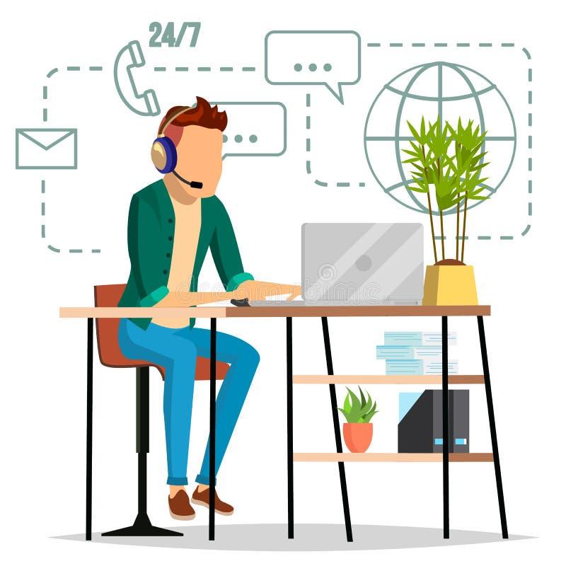 Διάνυσμα τεχνικής υποστήριξης Επαγγελματικός χειριστής Ειδικός έτοιμος να λύσει το πρόβλημα Οριζόντια απομονωμένη απεικόνιση απεικόνιση αποθεμάτων