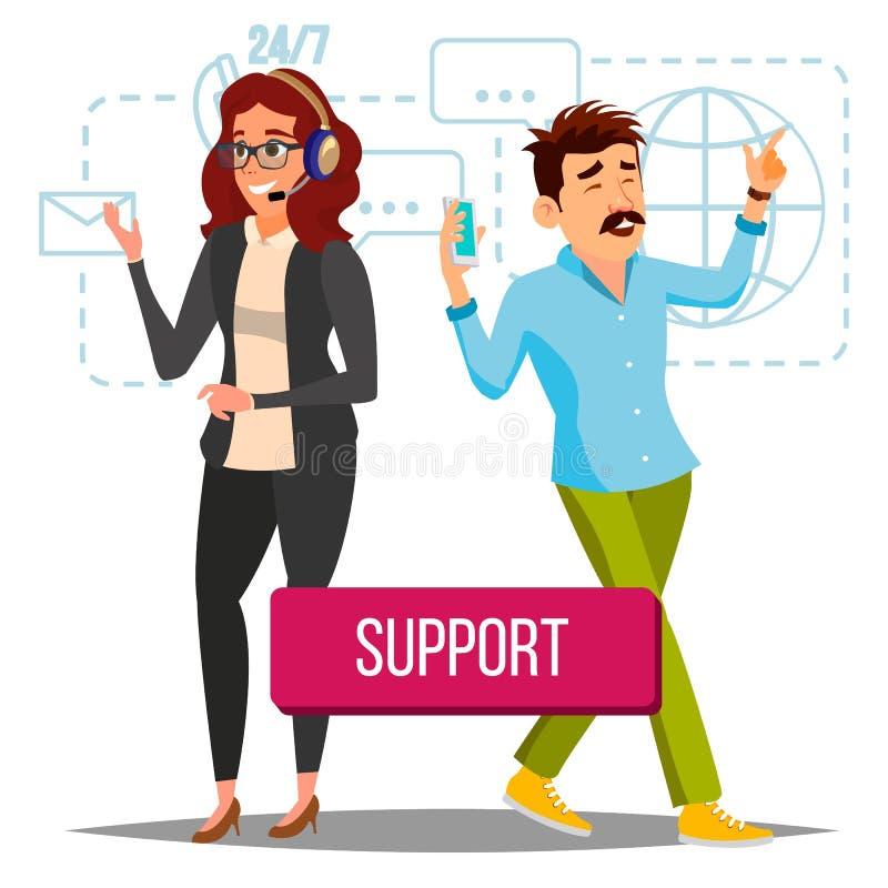 Διάνυσμα τεχνικής υποστήριξης Χειριστής στην εργασία Σε απευθείας σύνδεση υποστήριξη τεχνολογίας Οριζόντια απομονωμένη απεικόνιση διανυσματική απεικόνιση