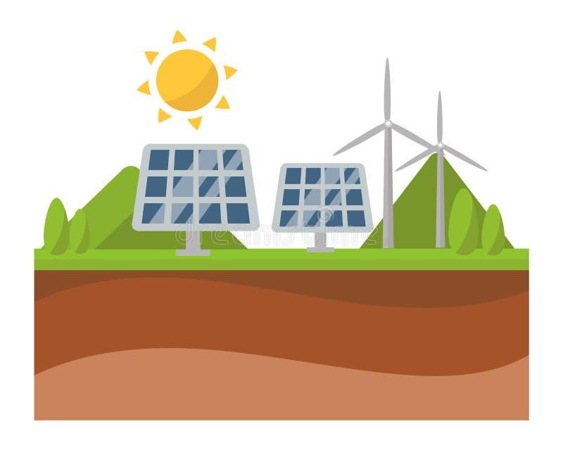 Διάνυσμα τεχνολογίας ηλεκτρικής ενέργειας δύναμης επιτροπής και ανεμόμυλων ηλιακής ενέργειας ήλιων διανυσματική απεικόνιση
