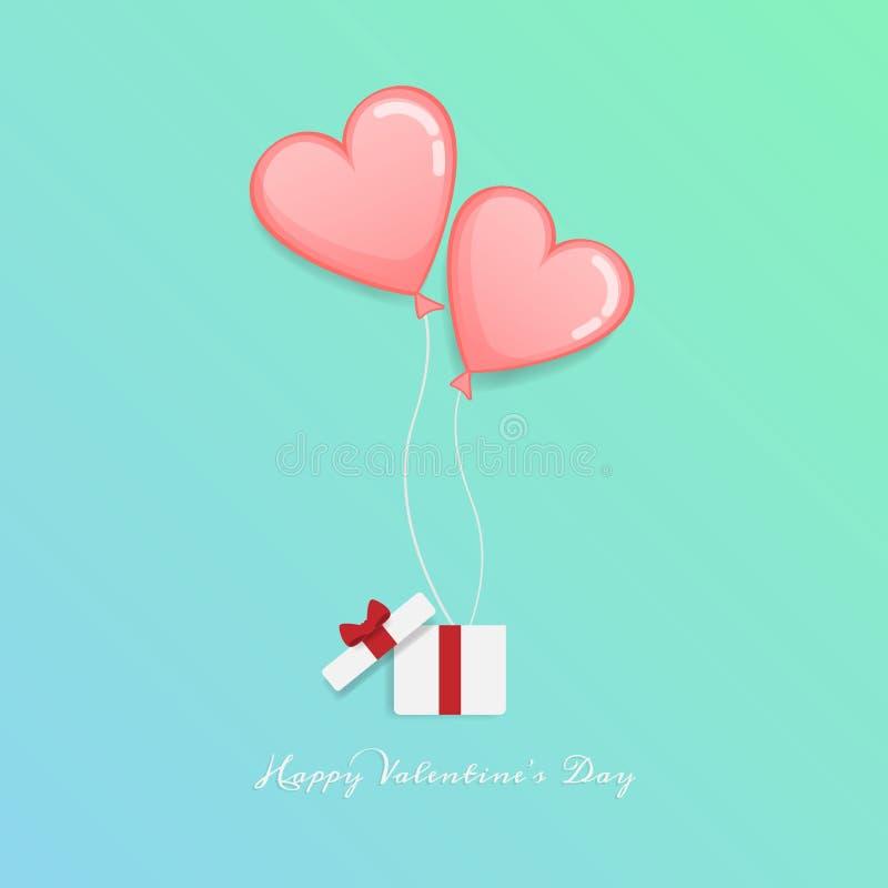 Διάνυσμα της αγάπης και της ευτυχούς ημέρας βαλεντίνων ανοικτό κιβώτιο δώρων με το επιπλέον σώμα καρδιών μέχρι τον ουρανό με το κ ελεύθερη απεικόνιση δικαιώματος