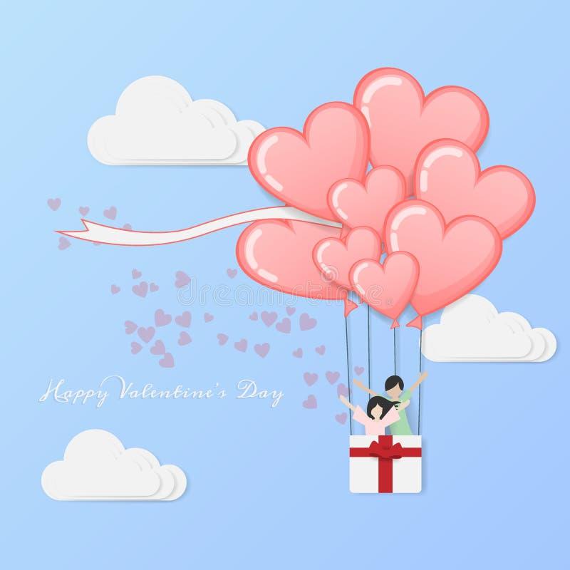 Διάνυσμα της αγάπης και της ημέρας του ευτυχούς βαλεντίνου το μπαλόνι ζεστού αέρα που πετούν με το ζεύγος αγάπης μέσα στο καλάθι  απεικόνιση αποθεμάτων