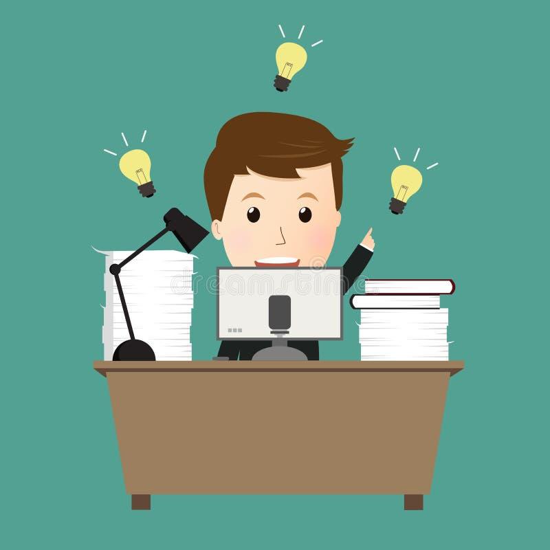 Διάνυσμα της εργασίας επιχειρησιακών ατόμων με τη μεγάλη ιδέα απεικόνιση αποθεμάτων