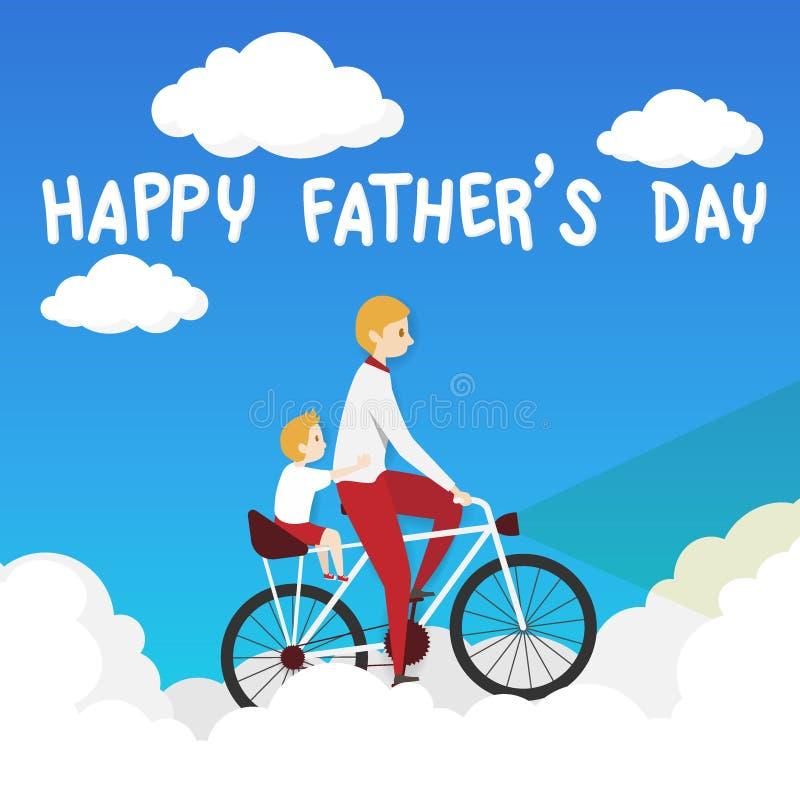 Διάνυσμα της ευχετήριας κάρτας ημέρας του ευτυχούς πατέρα biking ποδήλατο πατέρων με το γύρο γιων του σε ένα καθησμα συνεπιβάτη μ ελεύθερη απεικόνιση δικαιώματος