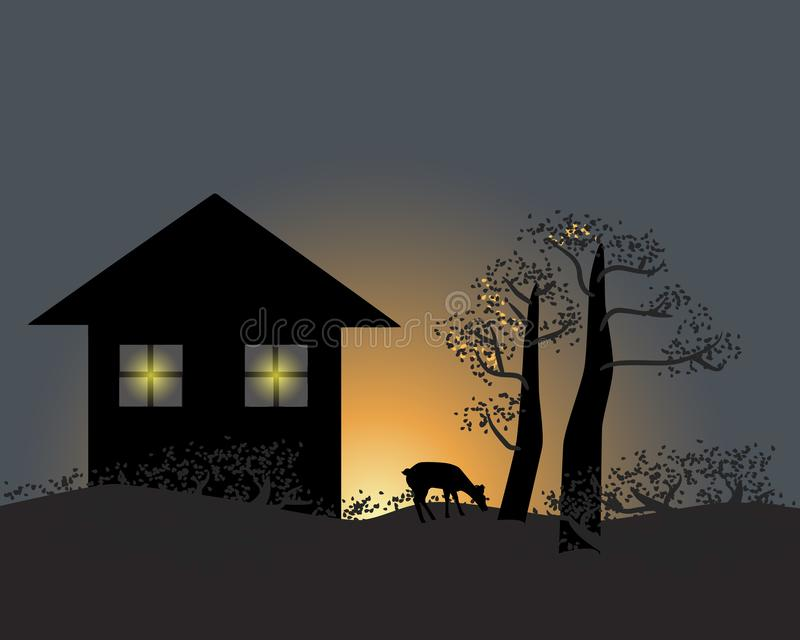 Διάνυσμα της σκιαγραφίας των ελαφιών κοντά στο σπίτι ελεύθερη απεικόνιση δικαιώματος