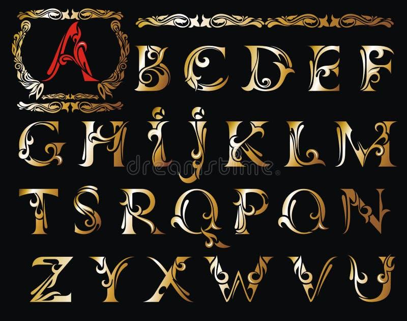 Διάνυσμα της τυποποιημένης καλλιγραφικής πηγής και του αλφάβητου διανυσματική απεικόνιση