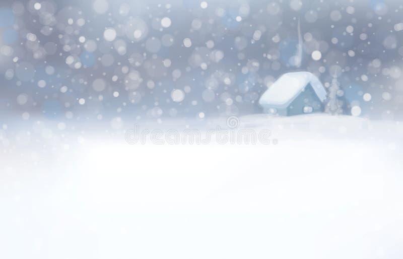 Διάνυσμα της χειμερινής σκηνής με το σπίτι και το υπόβαθρο χιονοπτώσεων ελεύθερη απεικόνιση δικαιώματος