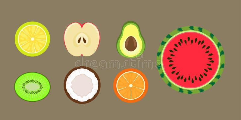 Διάνυσμα τμημάτων φρούτων στοκ εικόνες
